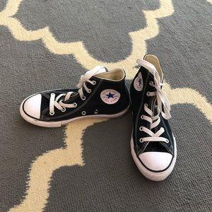 Girls Black Converse High Tops Size 1.5